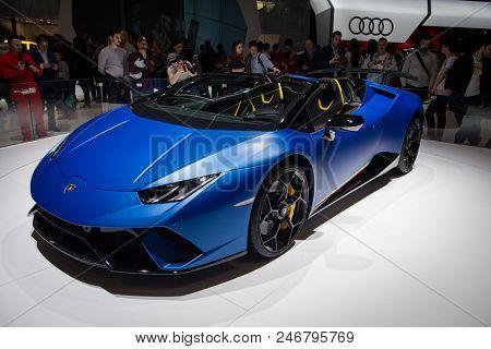 GENEVA, SWITZERLAND - MARCH 17, 2018: Lamborghini sports car showcased at the 88th Geneva International Motor Show.