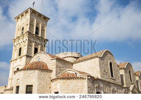 Orthodox church of agios Lazaros at Cyprus, Larnaca.  Cloudy sky backdrop. Religious and tourism destination.