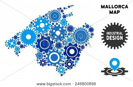 Repair Service Spain Mallorca Island Map Collage Of Cogs. Abstract Geographic Scheme In Blue Shades.