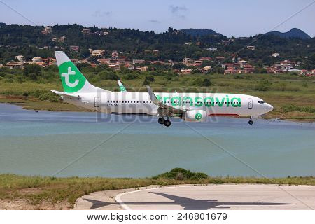 Corfu, Greece - June 5, 2016: Transavia Boeing 737-800 Arrives At Corfu International Airport, Greec