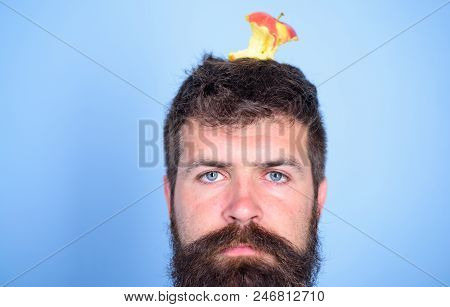 Man Handsome Hipster Long Beard Almost Eaten Apple Stump On Head As Target. Weight Loss Goal. Hipste