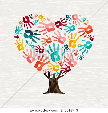 Tree Made Of Colorful Human Hands In Heart Shape. Community Help Concept Or Social Project. Eps10 Ve