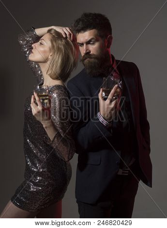 Limit Liability Of Your Company Holiday Party. Man And Fancy Lady At Corporate Party Drinking. Celeb