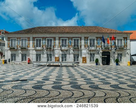 Cascais, Portugal - June 9, 2018: Portuguese Azulejos At City Hall Of Cascais In Portugal