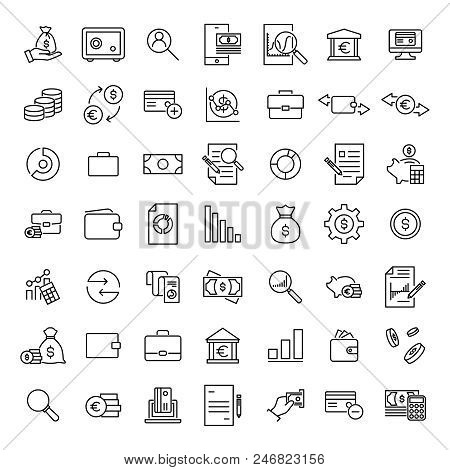 Premium Set Of Banking Line Icons. Simple Pictograms Pack. Stroke Vector Illustration On A White Bac