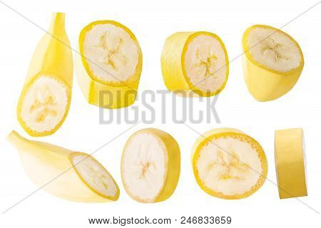 Isolated Bananas. Collection Slised Banana Fruits Isolated On White Background With Clipping Path As