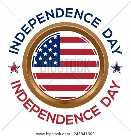 Independence Day Design. Fourth Of July. Round Medallion On A Chain With An American Flag And Inscri