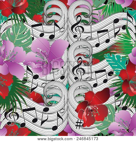 Music Notes Floral Vector Seamless Pattern. Beautiful Abstract Musical Background. Colorful Bright F