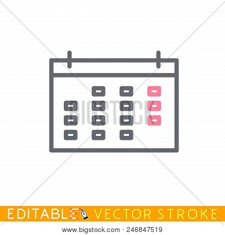Calendar Icon. Editable Stroke Sketch Icon. Stock Vector Illustration.