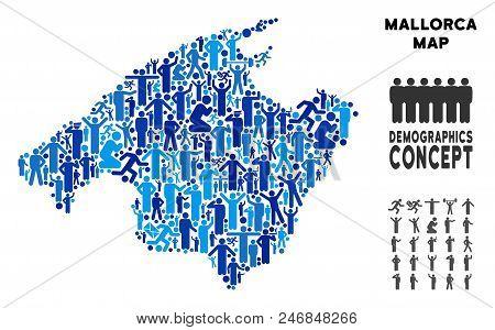 Vector Population Spain Mallorca Island Map. Demography Composition Of Spain Mallorca Island Map Com