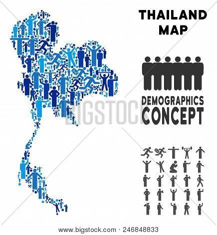 Vector population Thailand map. Demography composition of Thailand map created of persons with variable poses. Demographic map in blue tones. poster