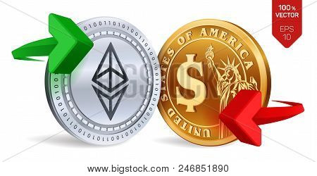 Ethereum To Dollar Currency Exchange. Ethereum. Dollar Coin. Cryptocurrency. Golden And Silver Coins