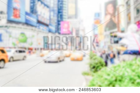 Defocused Background Of Times Square In New York City. Intentionally Blurred Post Production For Bok