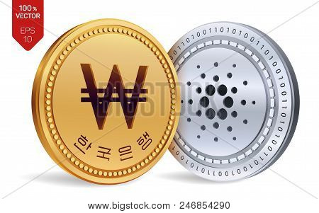 Cardano. Won. 3d Isometric Physical Coins. Digital Currency. Korea Won Coin. Cryptocurrency. Golden