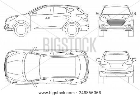 Car Vector Template On White Background. Compact Crossover, Cuv, 5-door Station Wagon On Outline. Te