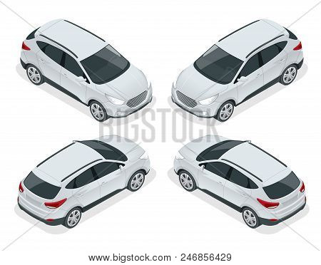 Isometric Car Vector Template On White Background. Compact Crossover, Cuv, 5-door Station Wagon Car.