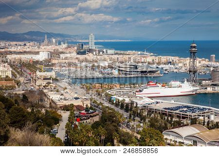 The Barcelona Harbour Seen From Montjuic Viewpoint