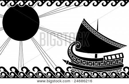 Greek Ship Stencil Black