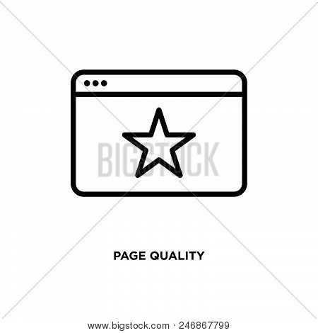Page Quality Vector Icon On White Background. Page Quality Modern Icon For Graphic And Web Design. P