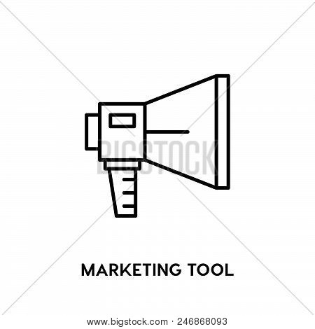 Marketing Tool Vector Icon On White Background. Marketing Tool Modern Icon For Graphic And Web Desig