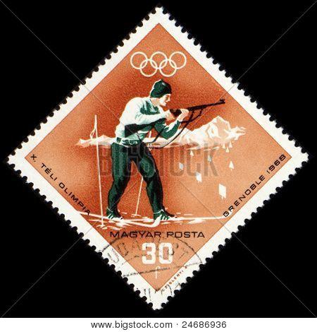 Biathlon On Post Stamp