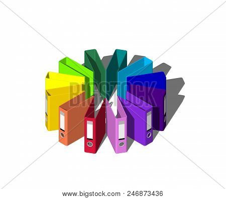 Empty Colorful File Folders.isolated On White Background.3d Rendering Illustration.circle From File