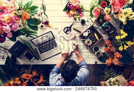 Business owner in flower shop