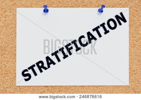 3d Illustration Of Stratification On Cork Board