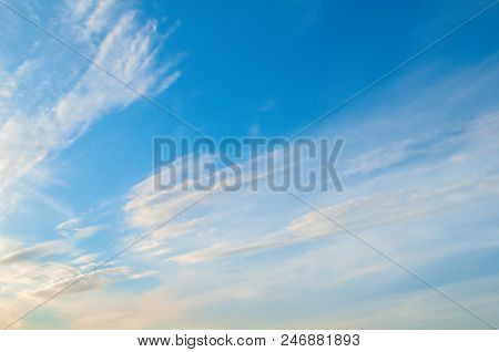 Blue Sky Sunrise Landscape With Pastel White Clouds - Colorful Vast Sky View