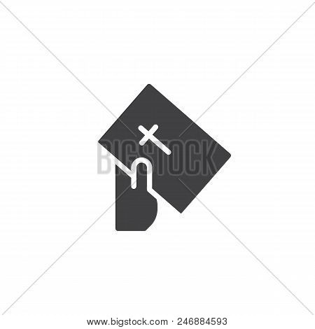 Hand Give Bible Book Vector Icon. Filled Flat Sign For Mobile Concept And Web Design. Faith Simple S