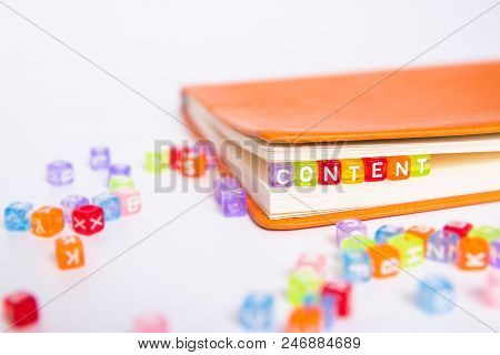 Content Word On Colorful Bead Block As Bookmark In Book. Content Marketing Idea Concept