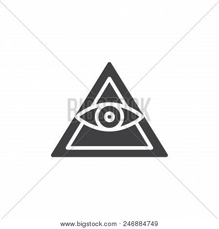 All Seeing Eye Pyramid Vector Icon. Filled Flat Sign For Mobile Concept And Web Design. Mason Pyrami