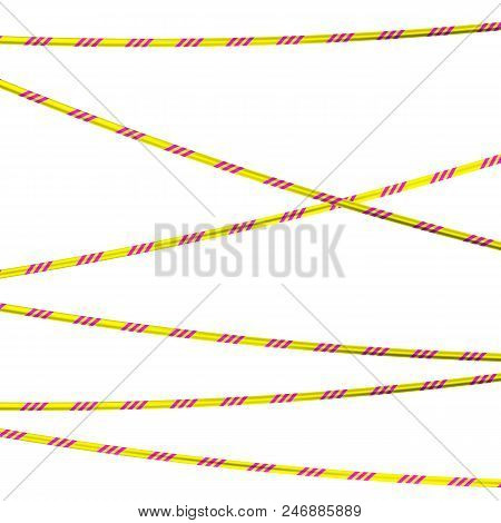 Radiation Hazards. Caution Tape. Vector Illustration. Yellow And Pink