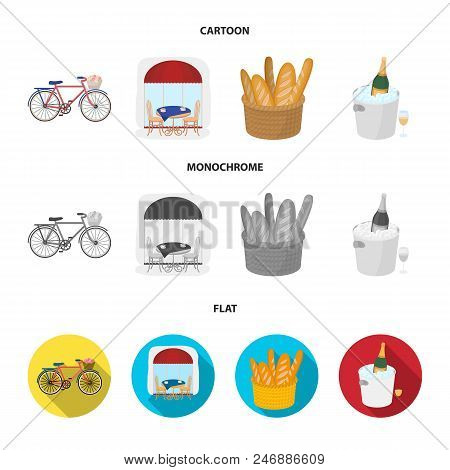Bicycle, Transport, Vehicle, Cafe .france Country Set Collection Icons In Cartoon, Flat, Monochrome