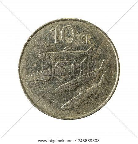 10 Icelandic Krona Coin (1984) Obverse Isolated On White Background
