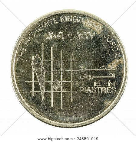 10 Jordanian Piastre Coin Obverse Isolated On White Background
