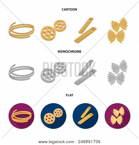 Different Types Of Pasta. Types Of Pasta Set Collection Icons In Cartoon, Flat, Monochrome Style Vec