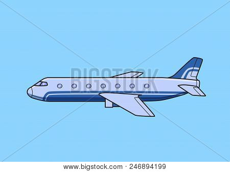 Blue Commercial Jetliner, Aircraft, Airplane. Flat Vector Illustration. Isolated On Blue Background