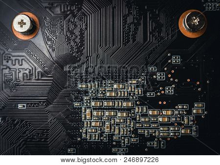Computer, electronic circuit board close up. Electronic computer hardware technology, computer motherboard background. Abstract technology background