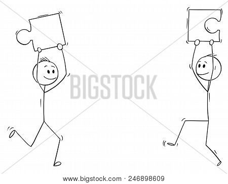 Cartoon Stick Drawing Conceptual Illustration Of Two Men Or Businessmen Holding Jigsaw Puzzle Pieces