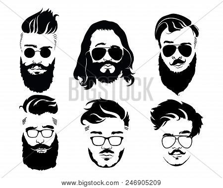 Set Hairstyles Men Vector & Photo (Free Trial) | Bigstock