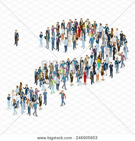 People Crowd Question Mark Vector Template. Isometric 3d Flat Design Vector Standing And Sitting Peo