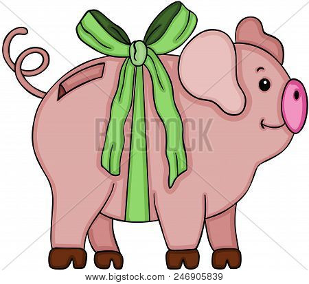 Scalable Vectorial Image Representing A Cute Piggy Bank With Green Bow, Illustration Isolated On Whi