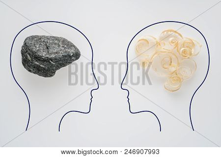 Heads Of Two People With Sawdust Brain Shape And Stone Brain Shape. Two People With Different Thinki