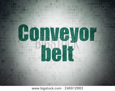 Industry Concept: Painted Green Word Conveyor Belt On Digital Data Paper Background