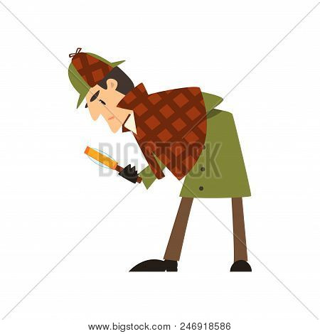 Sherlock Holmes Detective Character With Magnifying Glass Vector Illustration Isolated On A White Ba