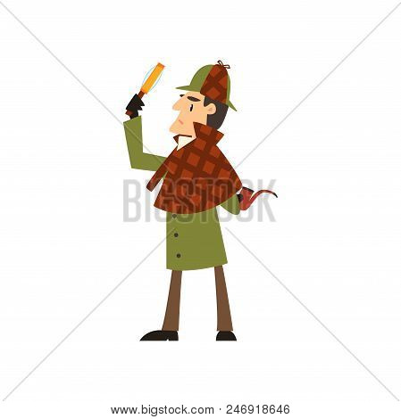 Sherlock Holmes Detective Character With Magnifying Glass And Smoking Pipe Vector Illustration Isola