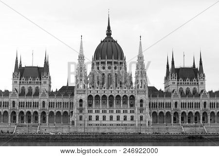 Central Section Of The Budapest Parliament Building In Monochrome