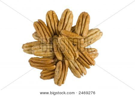 Shelled Pecan Nuts Isolated On White