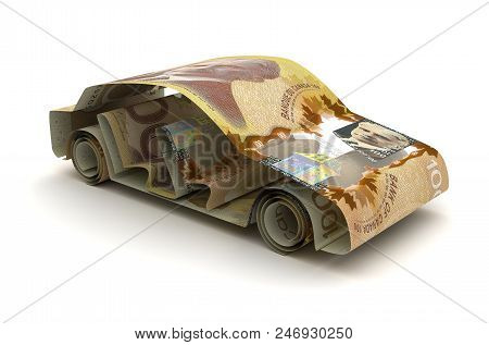 Car Finance With Canadian Dollar 3d Rendering